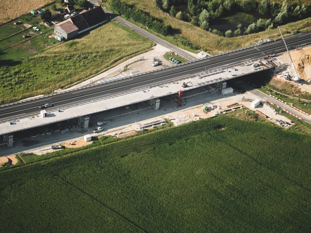 Photo aérienne de travaux réalisée en drone par Pierre-Loup Ducout, pour le compte de l'entreprise Vinci Autoroutes